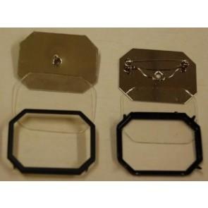 Glasmalbrosche Achteck 30 x 24 mm. Rahme