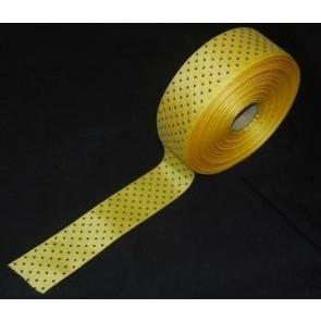 Taftband gelb mit schwarzen Tupfen