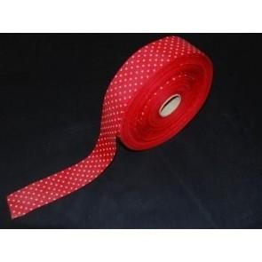 Taftband rot mit weißen Tupfen